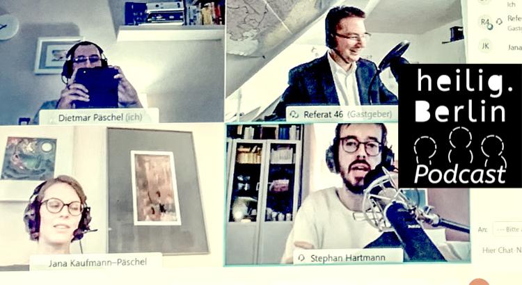 Ein Foto mit Michael Blume, Dietmar Päschel, Jana Kaufmann-Päschel, Stephan Hartmann. Zusätzlich zu sehen das heilig.Berlin Podcastlogo.